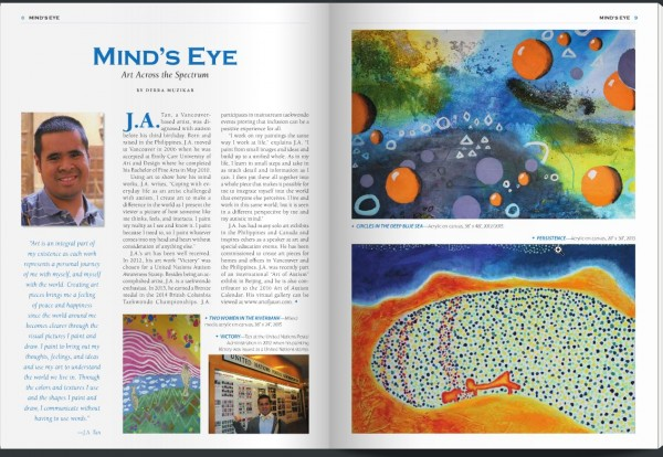 J.A. Tan Featured in Autism File Magazine, October-November 2015 issue