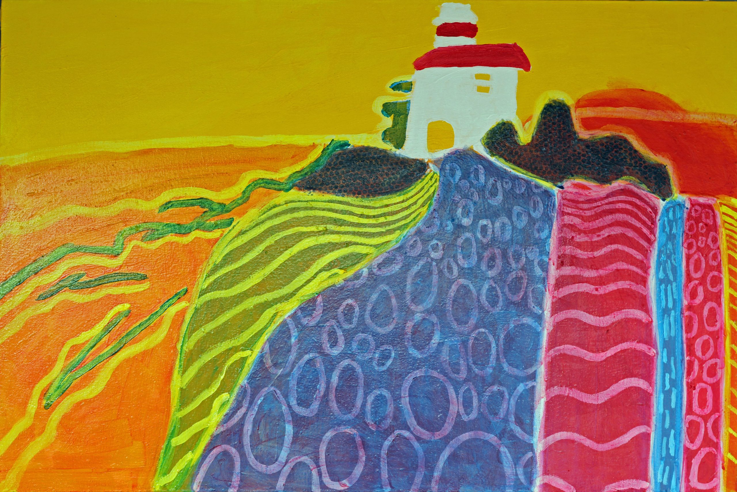 Painting of a Lighthouse, colorful