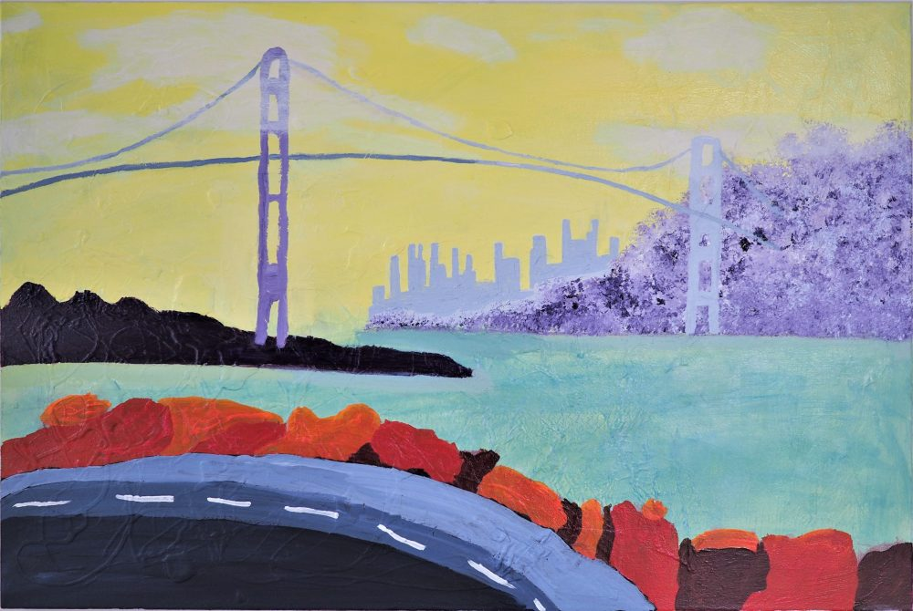 Lion's Gate Bridge mixed media acrylic on canvas painting by J.A. Tan