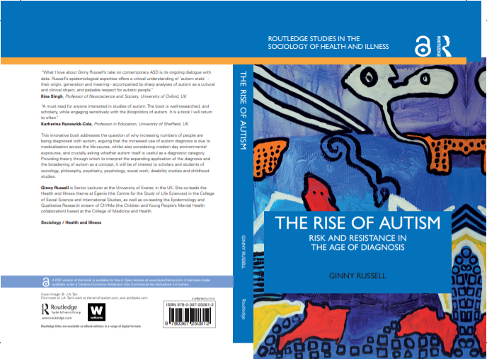 Painting by J.A. Tan on the cover of Rise of Autism Book, Picasso, blues, reds, abstract